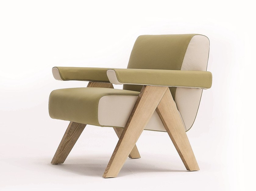 Upholstered leather armchair FRAM by Egoitaliano