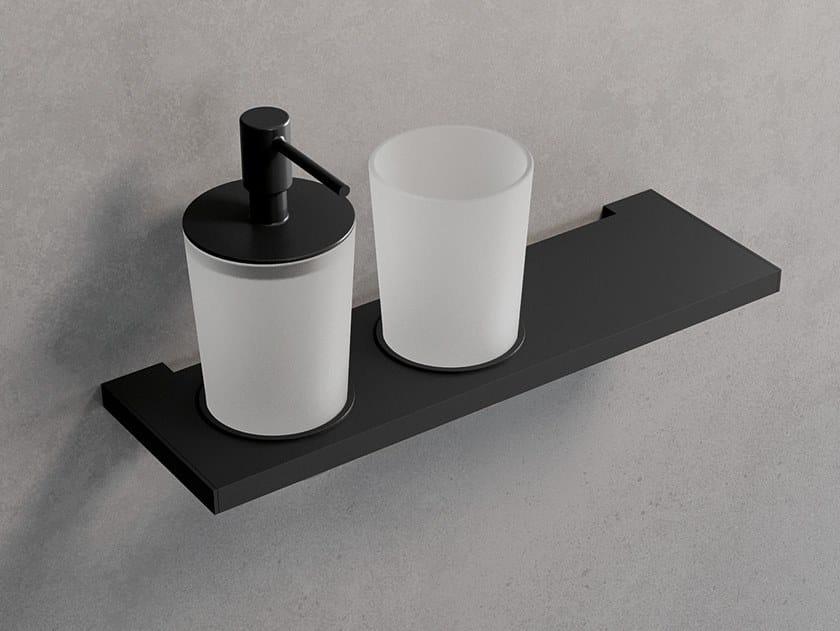 Mensola con porta bicchiere e dispenser sapone FRAME | Dispenser sapone by NOVELLINI