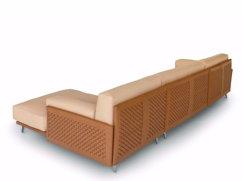 Contemporary style 3 seater upholstered tanned leather sofa with chaise longue FRAME COW HIDE by arflex