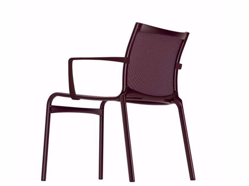 Stackable mesh chair with armrests FRAME XL COLORS - 459_C by Alias