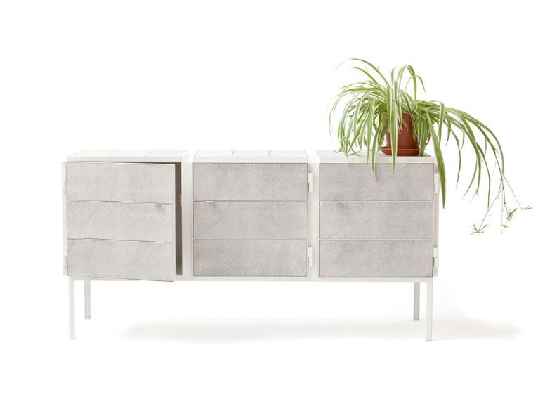 NewspaperWood sideboard with doors FRAMED | Sideboard by Vij5