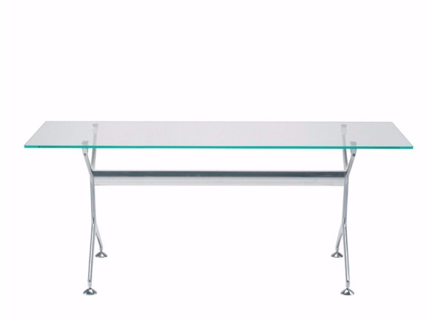 Rectangular glass and aluminium table FRAMETABLE 160 - 496_160 by Alias