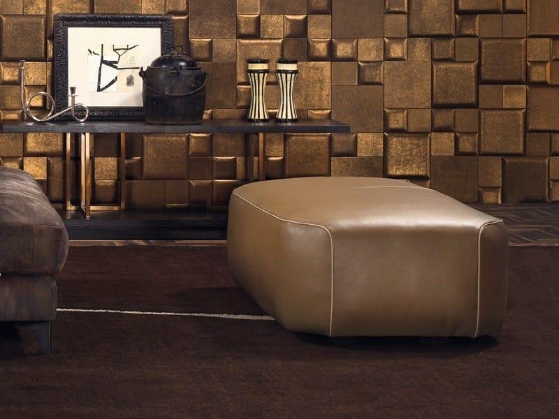 Upholstered leather pouf FRANKLIN | Leather pouf by Borzalino