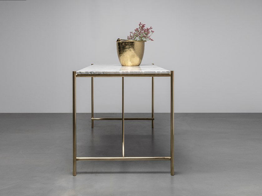 Rectangular table made of marble and brass FREDDIE by Hoom