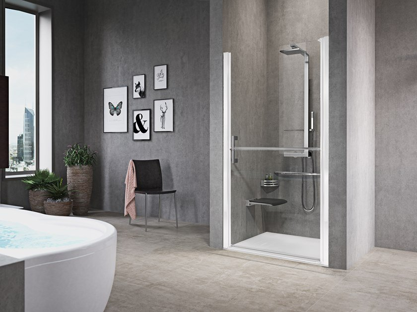 Niche shower cabin with hinged door FREE 1 1B by NOVELLINI