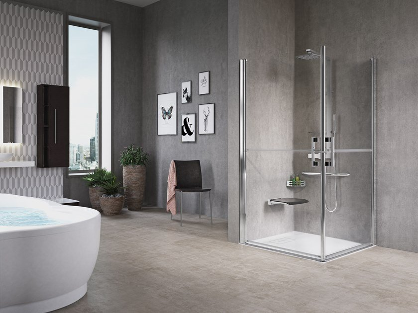 Corner shower cabin with hinged door FREE 1 2G by NOVELLINI