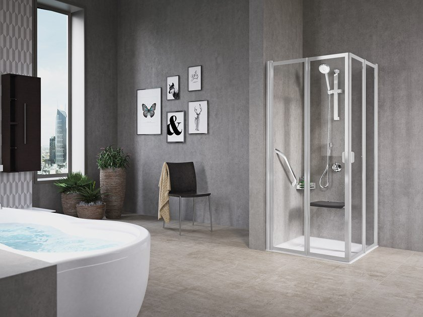 Corner shower cabin with folding door FREE 2 A (HIGH VERSION) by NOVELLINI