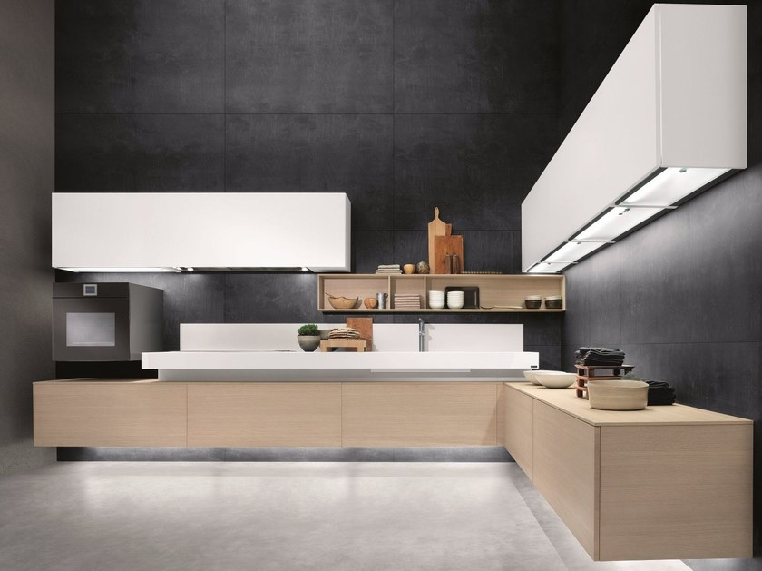 Contemporary style lacquered stainless steel fitted kitchen without handles FREE by Composit