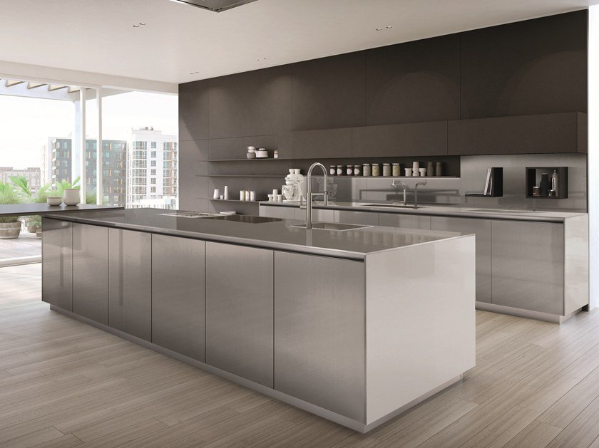 Stainless Steel Kitchen With Island Free By Euromobil