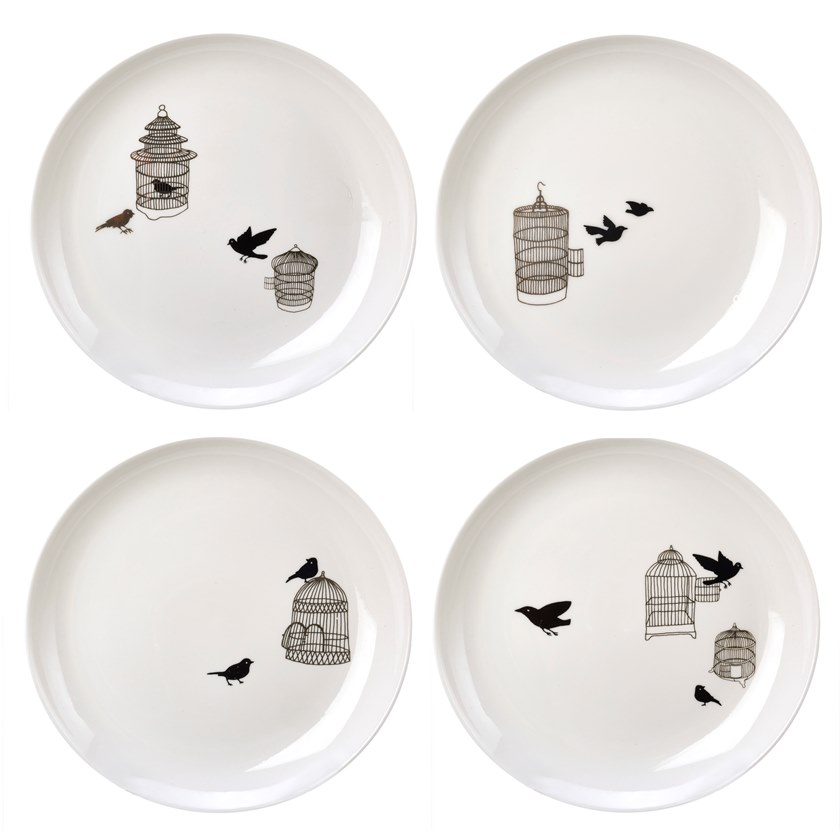 Porcelain plates set FREEDOM BIRDS | Plates set by Pols Potten