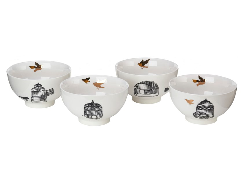 Porcelain serving bowls set FREEDOM BIRDS | Serving bowls set by Pols Potten