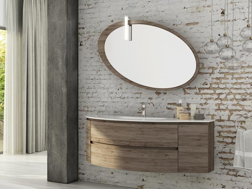 Single wall-mounted HPL vanity unit with mirror FREEDOM F01 by LEGNOBAGNO