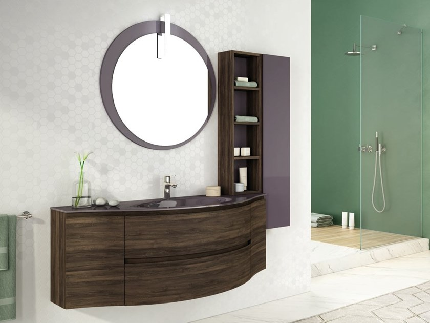 Single wall-mounted HPL vanity unit with mirror FREEDOM F02 by LEGNOBAGNO