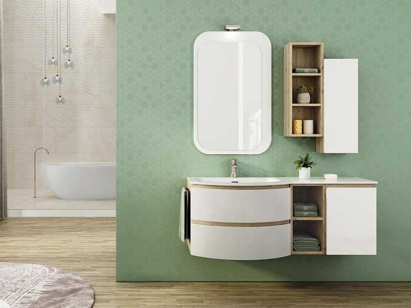 Single wall-mounted HPL vanity unit with mirror FREEDOM F03 by LEGNOBAGNO