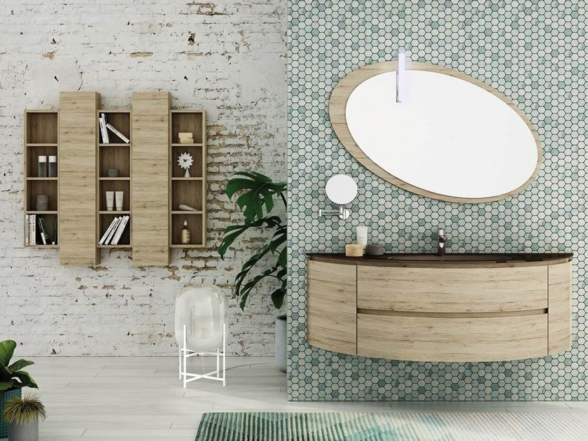 Single wall-mounted HPL vanity unit with mirror FREEDOM F05 by LEGNOBAGNO