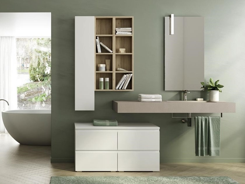 Wall-mounted HPL vanity unit with towel rail with mirror FREEDOM F09 by LEGNOBAGNO