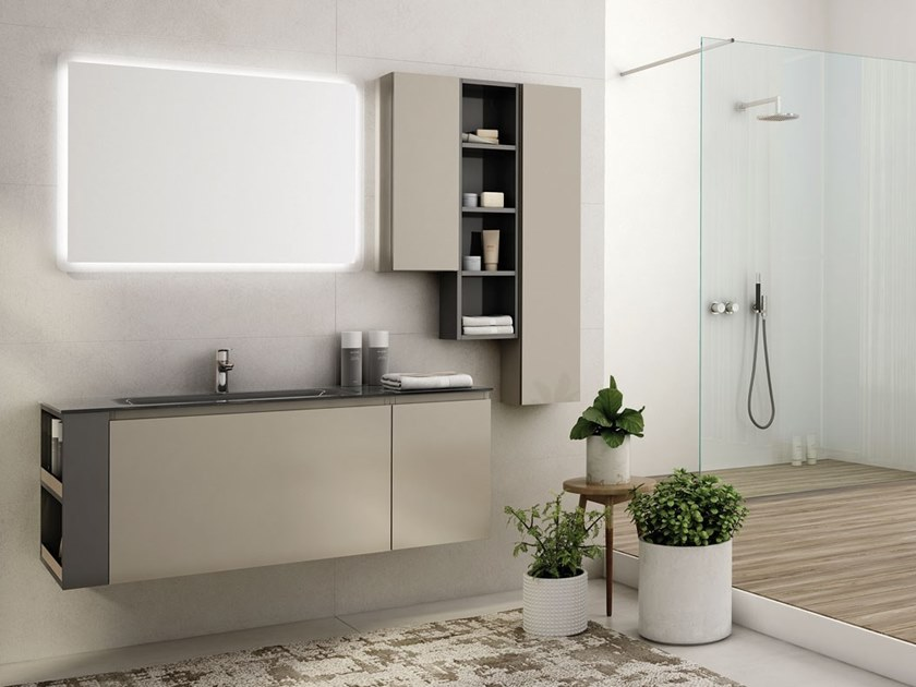 Wall-mounted glass vanity unit with mirror FREEDOM F14 by LEGNOBAGNO