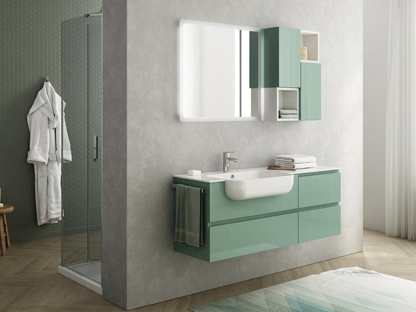 Lacquered wall-mounted HPL vanity unit with towel rail FREEDOM F15 by LEGNOBAGNO