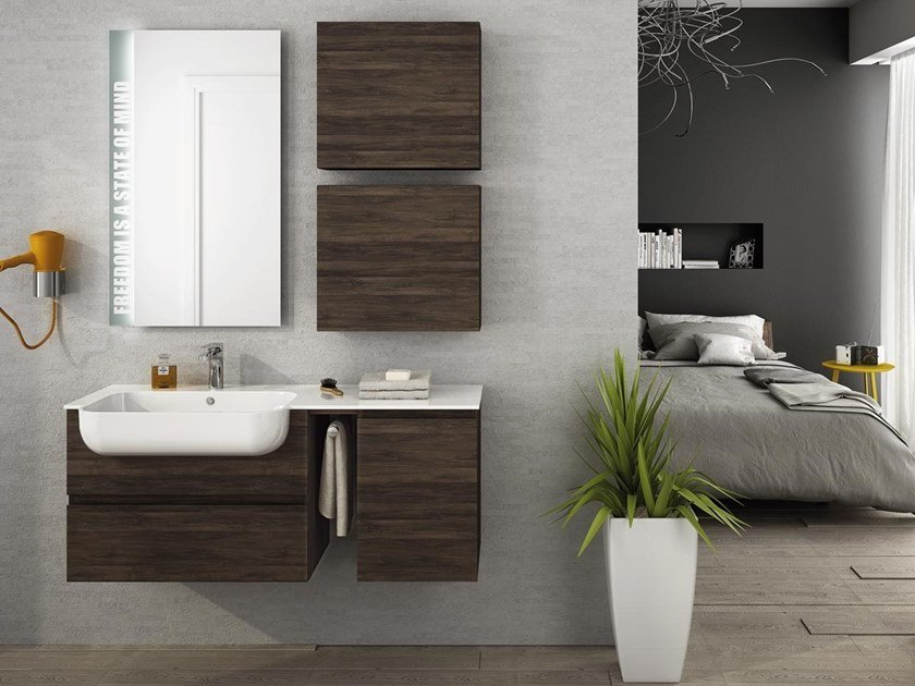 Single wall-mounted HPL vanity unit with doors FREEDOM F16 by LEGNOBAGNO