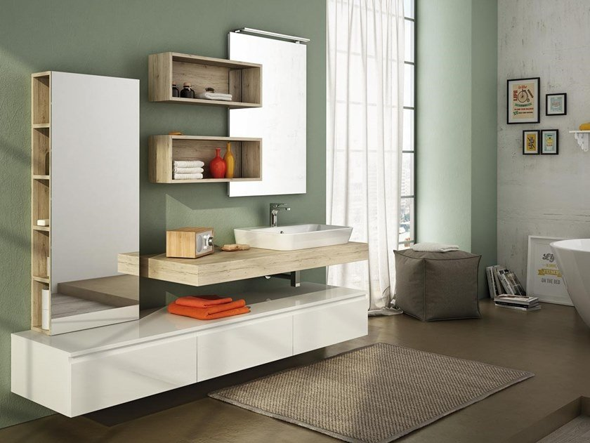 Single wall-mounted melamine-faced chipboard vanity unit with cabinets FREEDOM F20 by LEGNOBAGNO