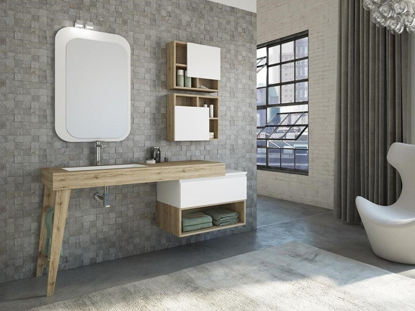 Single HPL vanity unit with drawers with mirror FREEDOM F21 by LEGNOBAGNO