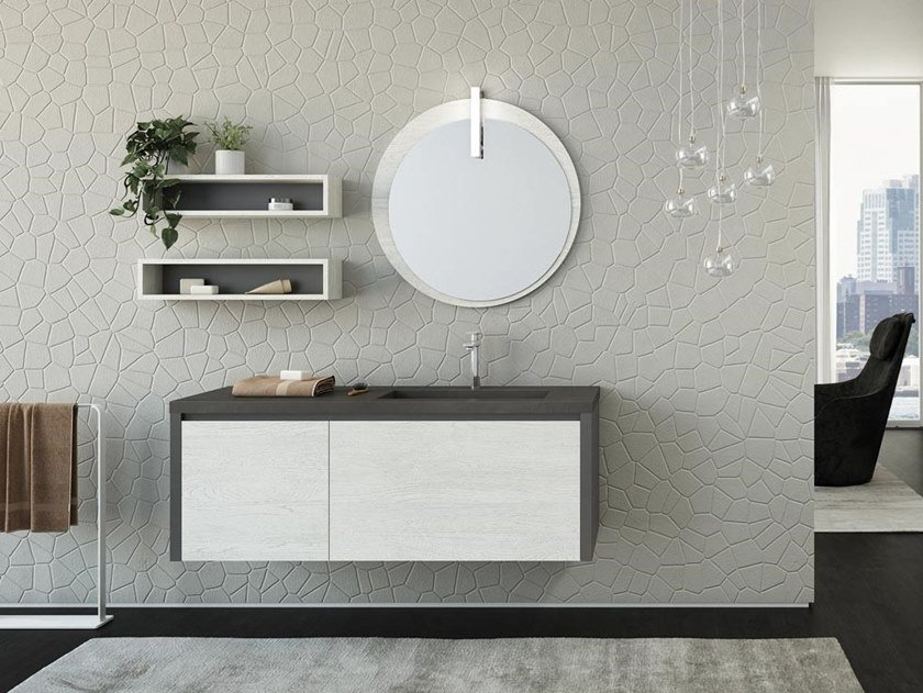 Wall-mounted vanity unit with drawers with mirror FREEDOM F22 by LEGNOBAGNO