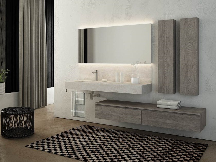 Single wall-mounted HPL vanity unit with towel rail FREEDOM F23 by LEGNOBAGNO
