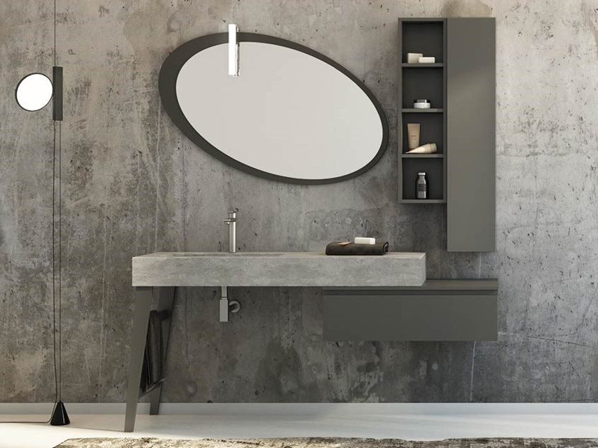 Single porcelain stoneware vanity unit with doors with mirror FREEDOM F24 by LEGNOBAGNO
