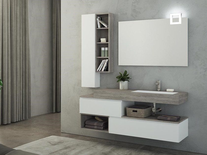 Lacquered wall-mounted HPL vanity unit with mirror FREEDOM F26 by LEGNOBAGNO