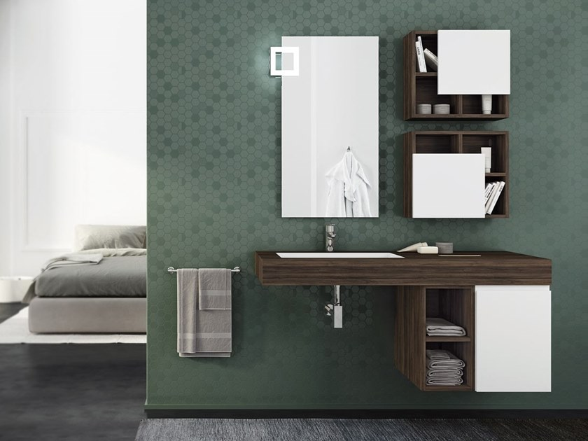 Single wall-mounted HPL vanity unit with doors FREEDOM F27 by LEGNOBAGNO