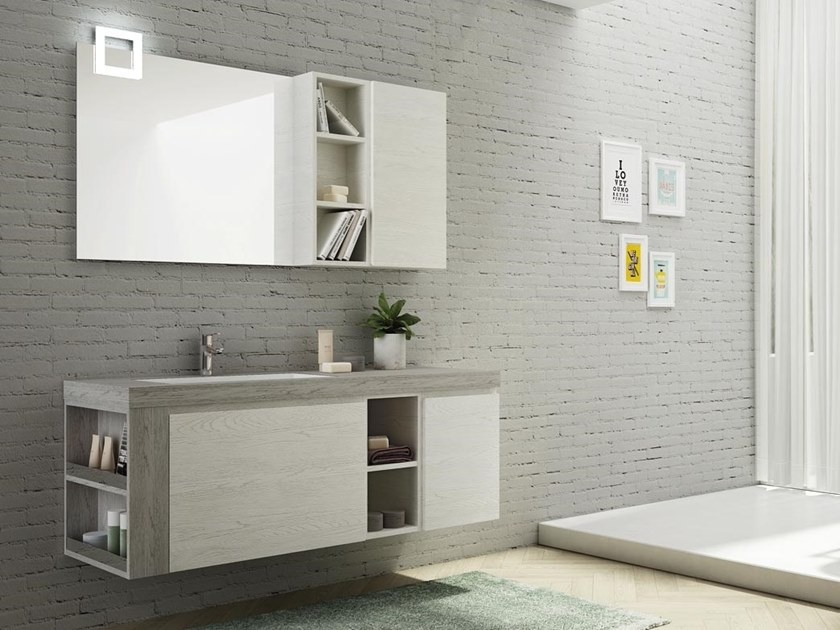 Single wall-mounted HPL vanity unit with mirror FREEDOM F28 by LEGNOBAGNO