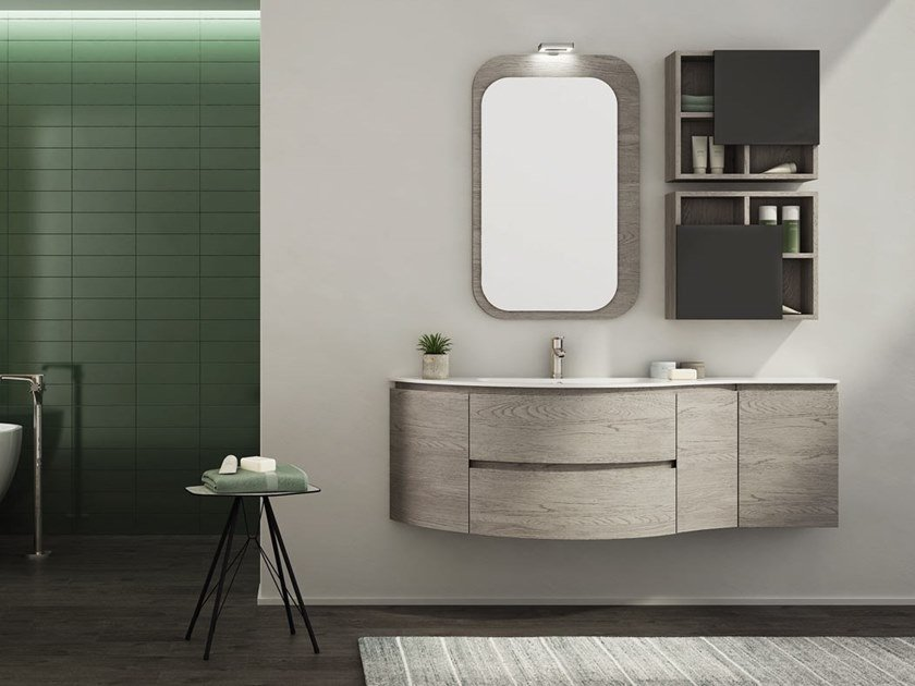 Single wall-mounted HPL vanity unit with mirror FREEDOM F30 by LEGNOBAGNO
