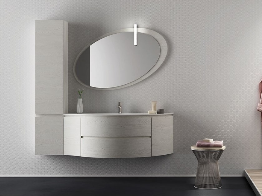 Single wall-mounted HPL vanity unit with mirror FREEDOM F31 by LEGNOBAGNO