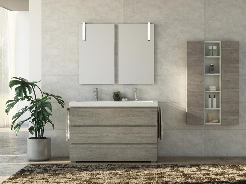 Floor-standing double HPL vanity unit with towel rail FREEDOM F36 by LEGNOBAGNO