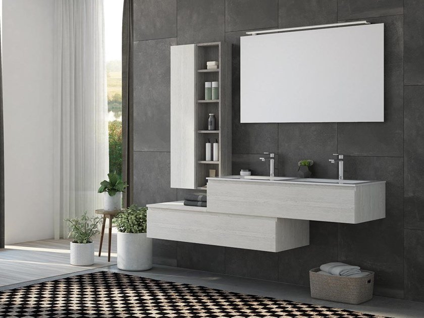Double wall-mounted HPL vanity unit with mirror FREEDOM F37 by LEGNOBAGNO