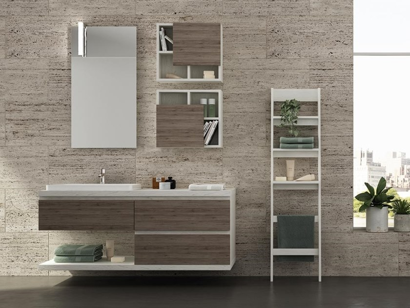 Single wall-mounted melamine-faced chipboard vanity unit with mirror FREEDOM F38 by LEGNOBAGNO