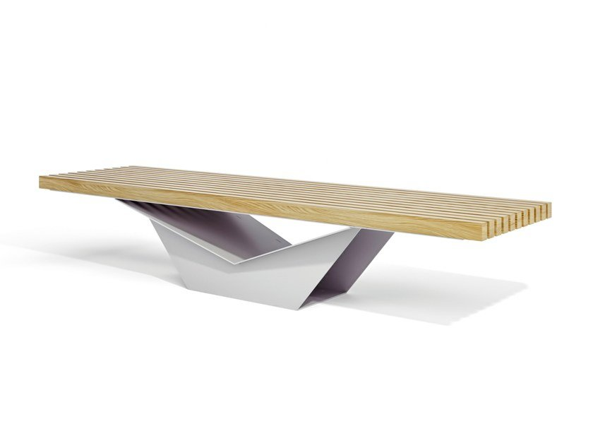 Modular backless steel and wood Bench FREEDOM by LAB23