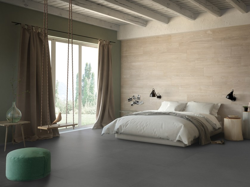Porcelain stoneware wall/floor tiles with concrete effect FREELAB BLACK by CERAMICA FONDOVALLE