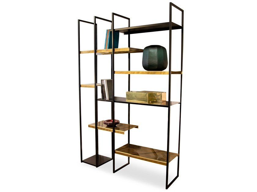 Open freestanding double-sided metal bookcase FREEWALL | Divider bookcase by RIFLESSI