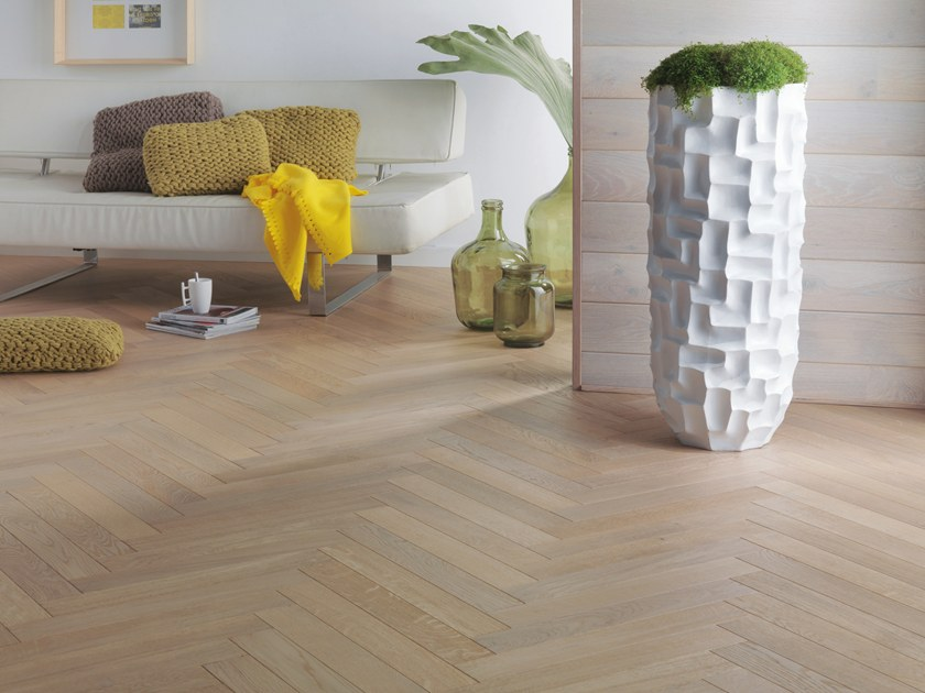 Engineered wood floor FRENCH OAK CLASSIC LINEN HERRINGBONE 90 by PANAGET