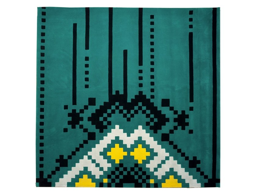 Handmade square wool rug with geometric shapes FRISKY by Dare to Rug