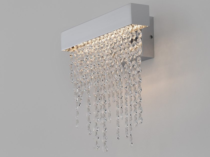 Direct light metal wall lamp with Swarovski® crystals FROZEN EYES W1 M CXL by ILFARI