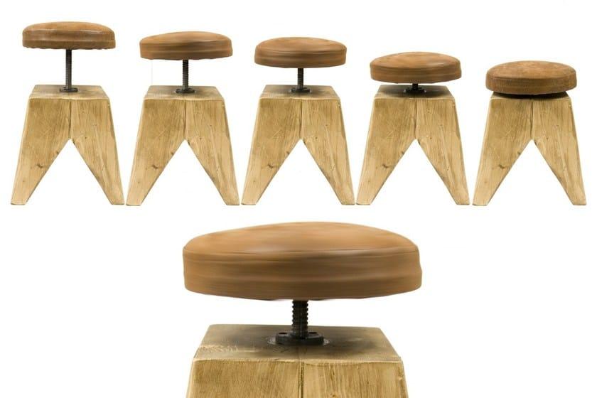 Sgabello imbottito in legno massello ad altezza regolabile fst