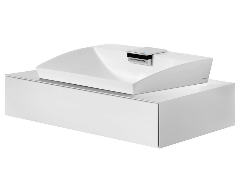 Lacquered wall-mounted vanity unit with drawers FU10089A-MW | Lacquered vanity unit by TOTO