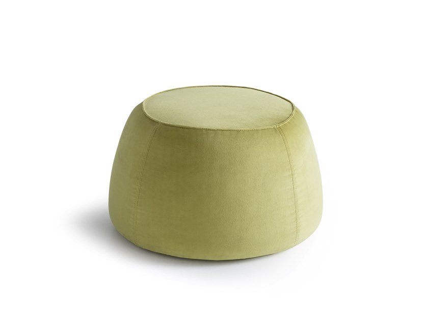 Contemporary style upholstered round fabric pouf FUJI by Felis