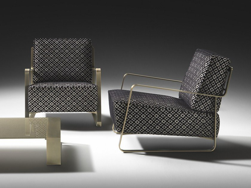 Fabric armchair with armrests FUJIYAMA | Fabric armchair by F.lli Orsenigo