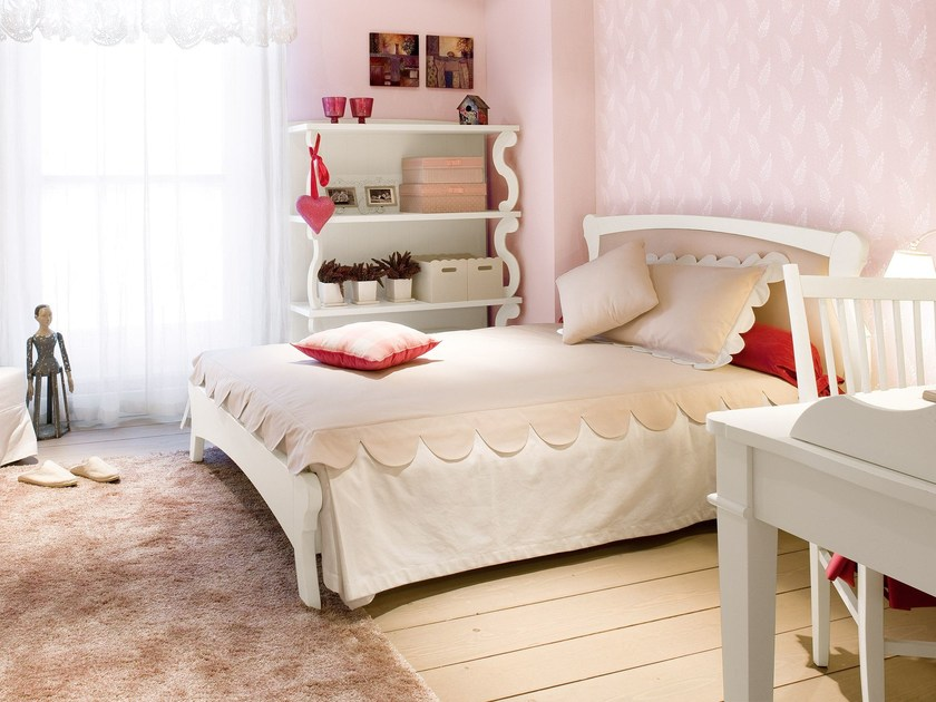 Wooden bed with upholstered headboard FULTON | Queen size bed by Minacciolo