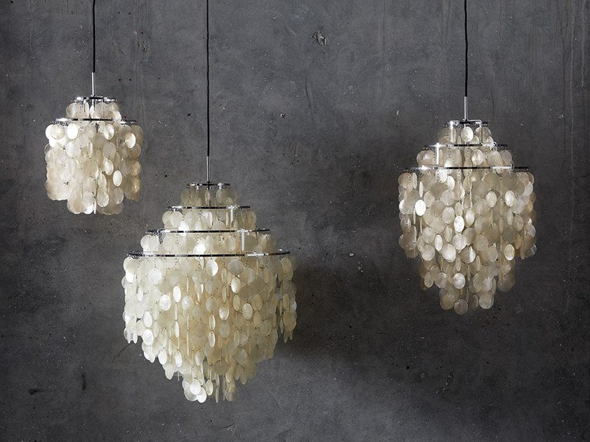 Mother of pearl pendant lamp FUN 0DM by Verpan