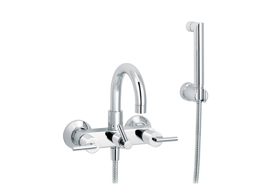 2 hole bathtub tap with hand shower with individual rosettes FUN | Bathtub mixer with hand shower by rvb