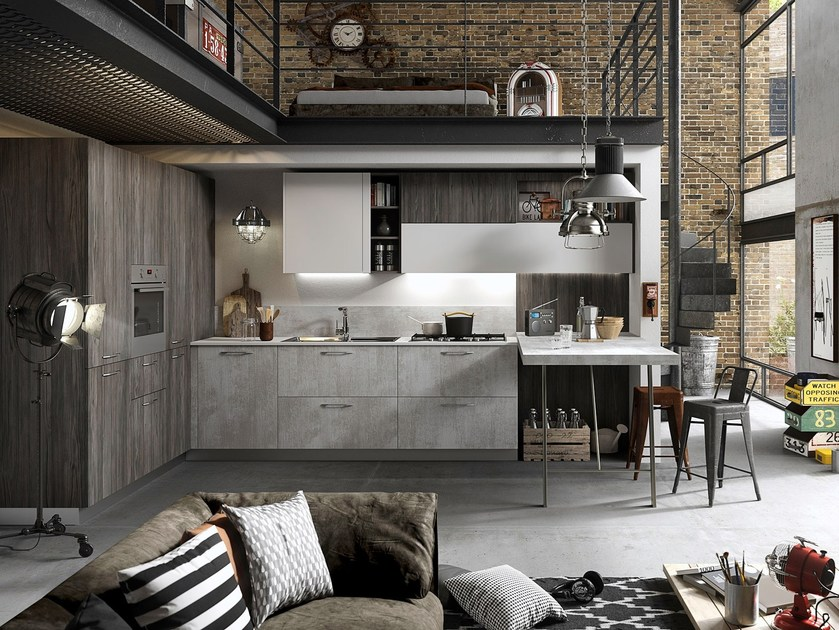 Contemporary style wooden fitted kitchen with handles with peninsula FUN | Kitchen with peninsula by Snaidero